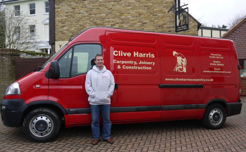 clive harris with van